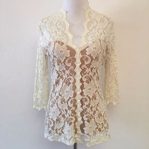 Karen Kane White Lace V Neck Top Size Medium